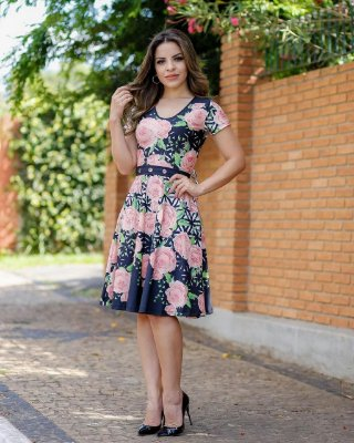 Vestido Lady Like Letícia Floral de Rosas Moda Evangélica