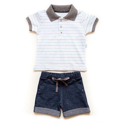 Conjunto camisa polo e short denin