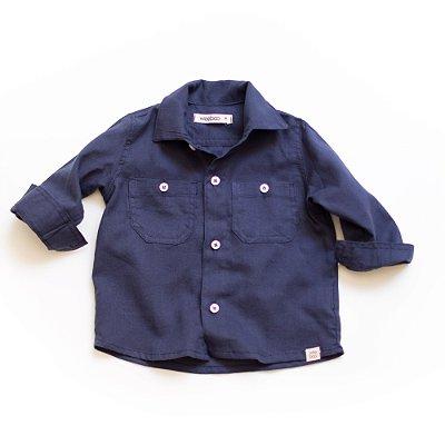 Camisa botões Linho Marinho