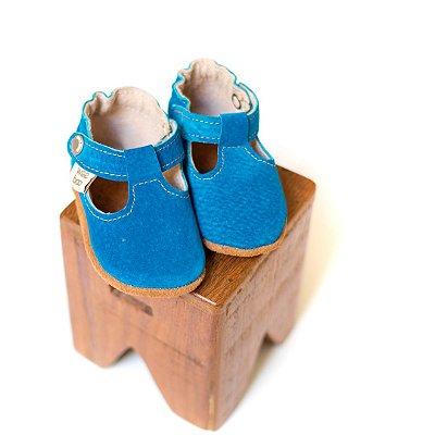 Sapato Boneca em Camurça Turquesa