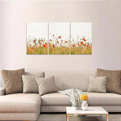Quadro decorativo Conjunto 3 Telas Campo de Flores Natureza