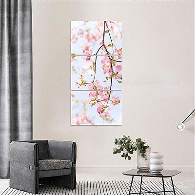 Quadro Flores e Plantas Paisagem Mosaico Vertical 3 Peças