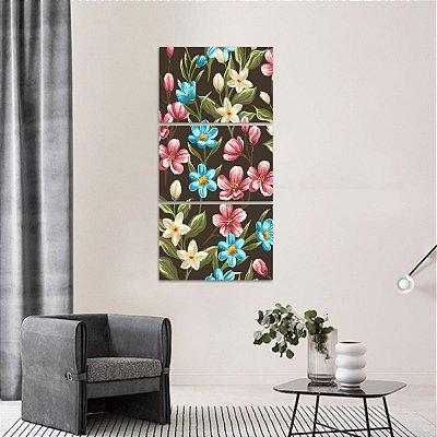 Quadro Artístico Floral decorativo Mosaico Vertical 3 Peças