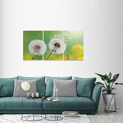 Quadro Flores Dandelion Natureza Conjunto 3 Telas
