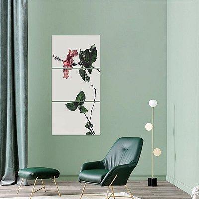 Quadro Flor Vintage Conjunto Vertical decorativo 3 Peças