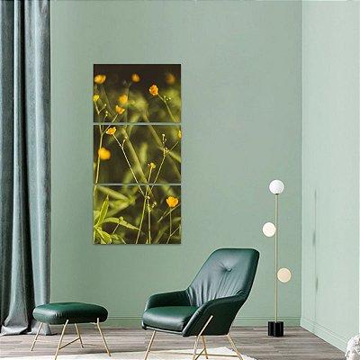 Quadro Mosaico Vertical Plantas e Flores Natureza 3 Peças