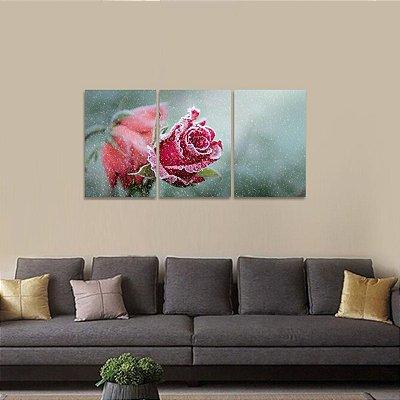 Quadro Flores Rosa Natureza Neve Arte em 3 Telas