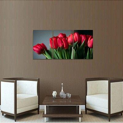 Quadro decorativo Tulipas Vermelhas em 3 Telas Flores