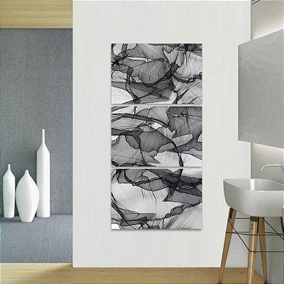 Quadro Abstrato Design Moderno Preto e Branco Vertical