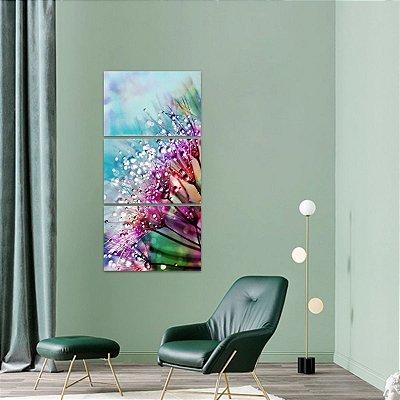 Quadro Flor Abstrata em Vertical Conjunto 3 Peças