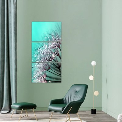Quadro Flor Dandelion Abstrato Conjunto 3 Peças Vertical