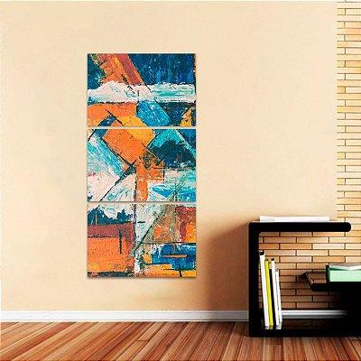 Quadro Abstrato Moderno Estilo Pintura Tons Laranja decorativo