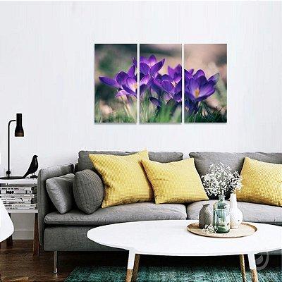 Conjunto 3 Telas Flores Roxas Natureza Artístico