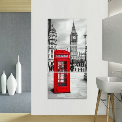 Quadro decorativo Conjunto Vertical Telefone e Big Ben Londres