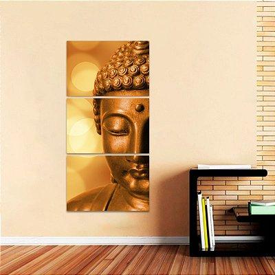 Quadro Conjunto Vertical Buda Budismo decorativo 3 Peças