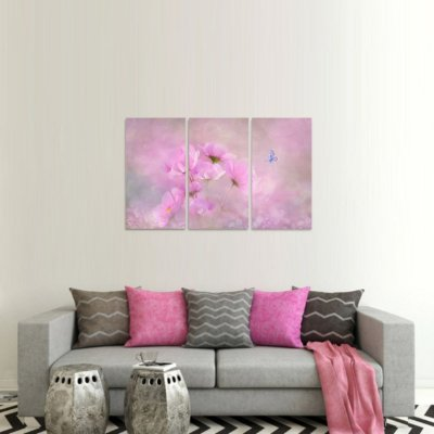 Conjunto de 3 Telas Flores e Borboleta Artístico