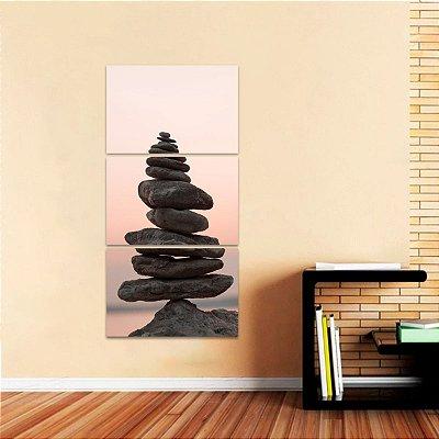 Quadro As Pedras do Equilíbrio Conjunto Vertical 3 Peças
