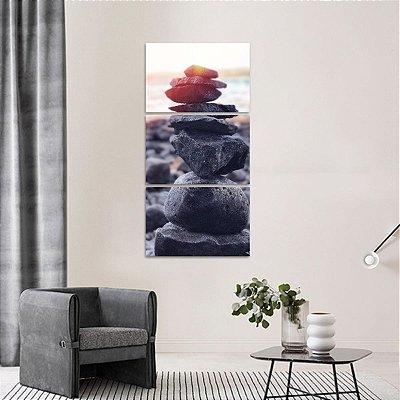 Quadro Pedras do Equilíbrio Conjunto Vertical 3 Peças Zen
