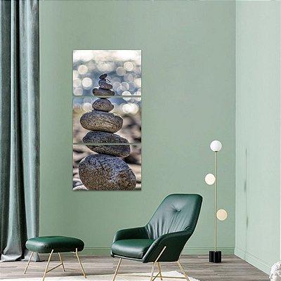 Quadro Zen Pedras do Equilibrio Paz Conjunto Vertical