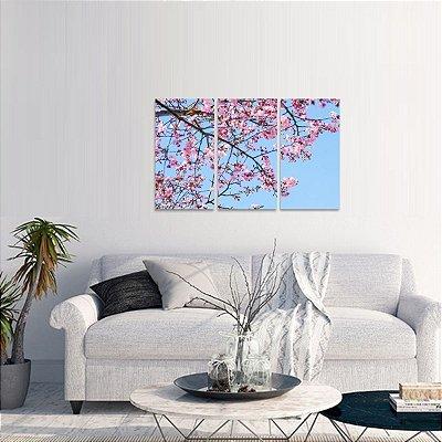 Quadro decorativo Ramo de Flores Plantas Jogo 3 Telas