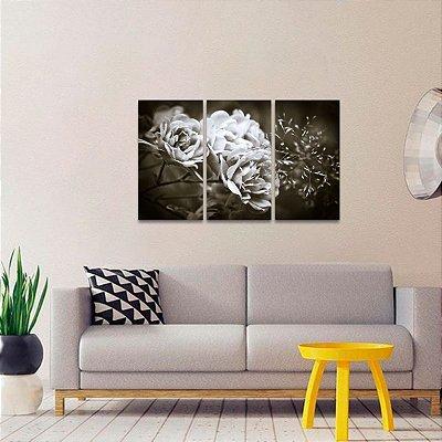Quadro Flor Floral em Preto e Branco Jogo 3 Telas
