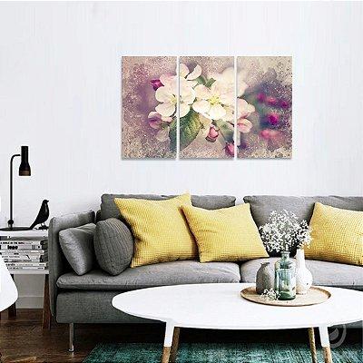 Quadro Flores Artístico Conjunto de 3 Telas decorativo
