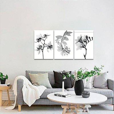 Quadro Kit 3 Peças Flowers Raio X Flores em Preto e Branco
