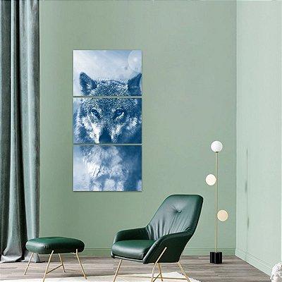 Quadro decorativo Lobo Artístico Blue Eyes em 3 Peças