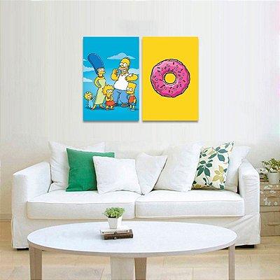 Kit 2 Quadros decorativo Família Os Simpsons e Rosquinha