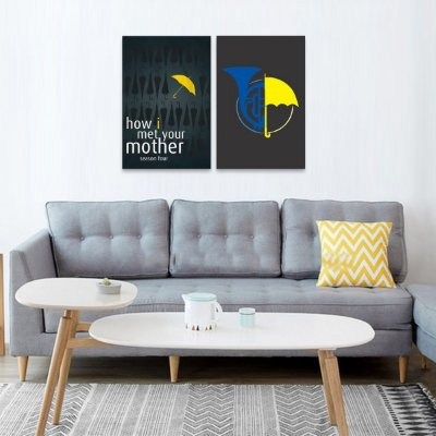 Kit 2 Quadros How i Met Your Mother Himym decorativo