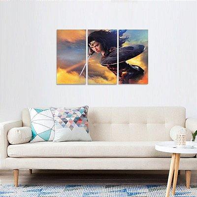 Quadro decorativo Mulher Maravilha Filmes Kit 3 Telas