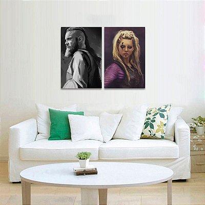 Kit 2 Quadros Série Vikings Lagertha e Ragnar Lothbrok