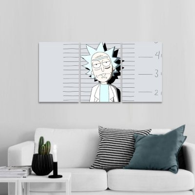 Quadro Ricky Preso de Ricky and Morty Universos 3 Telas