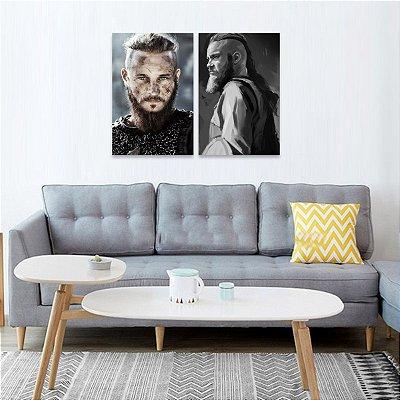 Kit 2 Peças Quadro Ragnar Lothbrok Vikings