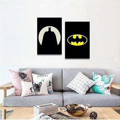 Quadro Kit 2 Peças Batman Heróis Filmes decorativo