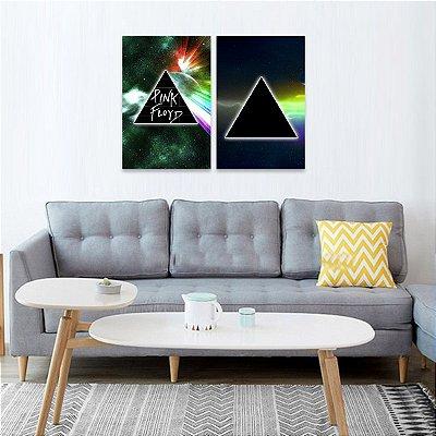 Kit 2 Quadros Rock Música Pink Floyd decorativo