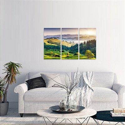 Quadro Árvores e Montanhas Natureza Paisagem em 3 Peças