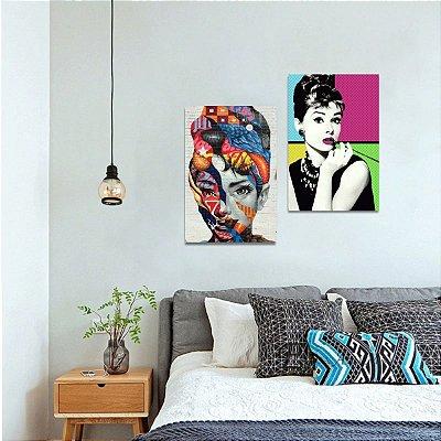 Kit 2 Quadros de Audrey Hepburn Artístico Colorido decorativo