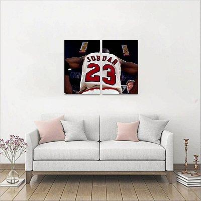 Quadros decorativos Michael Jordan Basquete em 2 Peças