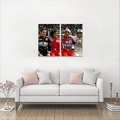 Quadro Senna Prost Mansell e Piquet em 2 Peças decorativo