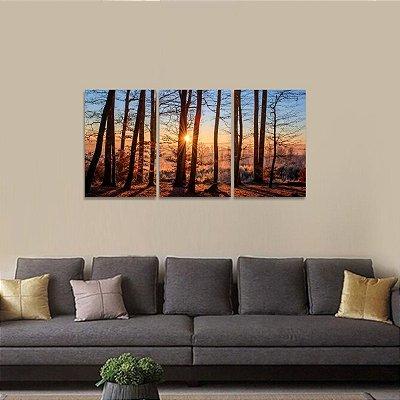 Quadro Floresta Pôr do Sol Árvores Natureza Jogo 3 Peças
