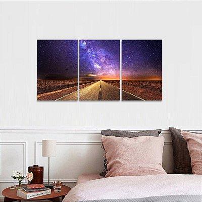 Quadro The Road Estrelas e Universo Paisagem Conjunto 3 Peças