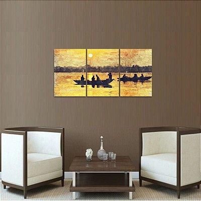 Quadro Lago Sunset Canoas Artístico Paisagem