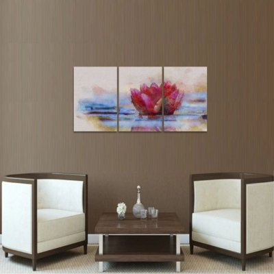 Quadro Flor de Lótus no Lago Artístico Conjunto 3 Peças