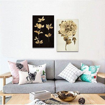 Quadros decorativos Flores e Plantas Gold em 2 Peças