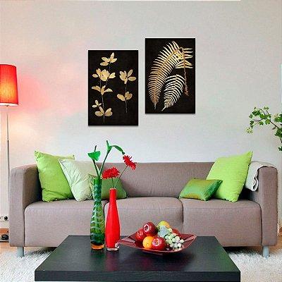 Kit 2 Quadros Flores e Plantas Preto e Dourado decorativo