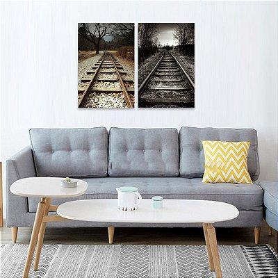 Quadros decorativos Paisagem Trilhos de Trem Kit 2 Peças