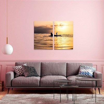 Quadro decorativo Mar Surf e Pôr do Sol em 2 Peças