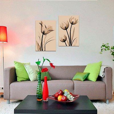 Quadro decorativo Flores Arte Raio X Sépia Kit 2 Peças