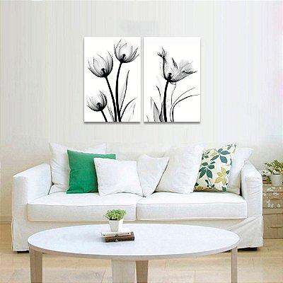 Quadro Flores Raio X em Preto e Branco 2 Peças